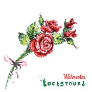 Stock Illustration of drawing by hand beautiful watercolor background bouquet of roses, flowers