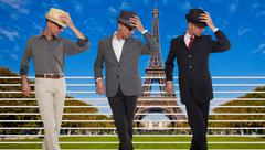 Three clones or triplets in Paris, France - stock photo