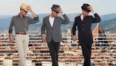 Three clones or triplets in Florence, Italy Stock Photos