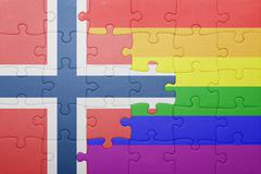 puzzle with the national flag of norway and gay flag - stock photo