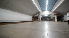 Nizhny Novgorod, RUSSIA  The interior of subway station Stock Footage