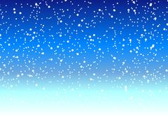 Falling snow at night in the winter sky Piirros
