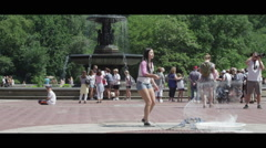 Girl Playing With Bubbles in Park slow Stock Footage