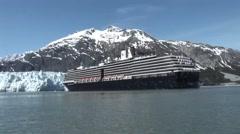 Cruise ship in Glacier Bay Alaska Stock Footage