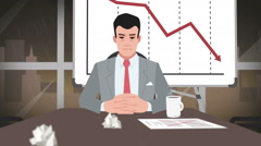 Cartoon Corporate / Entrepreneur facing crisis - stock footage