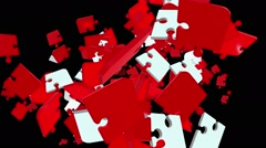 Falling puzzle pieces in red and white colors Stock Footage