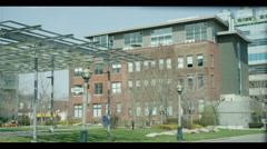 Crawford street building,  sunny day, umbrella in wind above Stock Footage