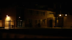 Exterior of School at Night Stock Footage