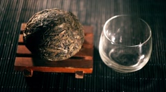Tea. Chinese tea. Puer sort of tea with filter Stock Footage