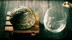 Chinese tea. Puer sort of tea filter variation Stock Footage