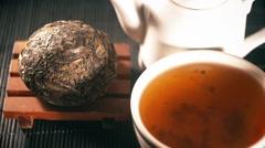 Tea. Chinese tea. Puer sort of tea Stock Footage