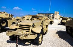Stock Photo of OLd M3 half-track  carrier. Latrun, Israel