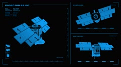Looping, orthographic view of rotating wireframe model of CloudSat spacecraft.  Stock Footage