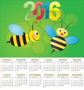 illustration of 2016 calendar for children in italian - stock illustration