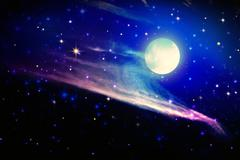 Full moon and star sky. - stock illustration