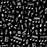 Stock Illustration of A lot of music signs and note on black background pattern