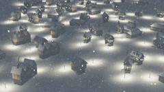 Flight over snowbound township at night - stock footage
