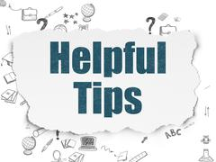 Education concept: Helpful Tips on Torn Paper background - stock illustration