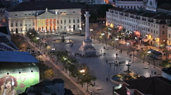 Rossio Square in Lisbon by Night Stock Footage