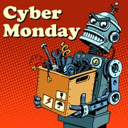 Robot Cyber Monday gadgets and electronics - stock illustration