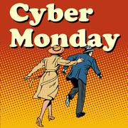 Cyber Monday shoppers run on sale - stock illustration