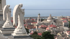 Two statues of angels on the roof of a church in Chiavari Stock Footage