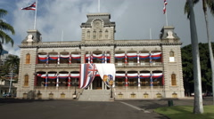 Iolani Palace in Oahu Hawaii Stock Footage