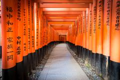 Path of oranges japanese gates in a temple in Kyoto - stock photo