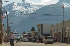 Main shopping district in the small town of Skagway - stock photo