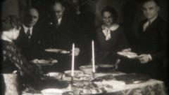 2727 - dinner party with friends, smiles, food & drink - vintage film home movie Stock Footage