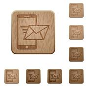 Send mail wooden buttons Stock Illustration