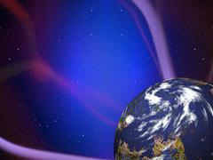Simulated planet with plasma rays Stock Illustration
