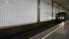 Train arrives at the Moscow metro station Chkalovskaya, The Moscow Metro is the Stock Footage