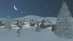 Snow-covered town at snowfall night with moon - stock footage