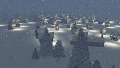 Dreamlike township at snowfall night Aerial view Stock Footage