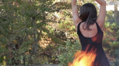 Beautiful Sexy Girl Dancer Dancing by Fire, Through Flames - stock footage