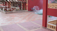 Staff uses a fogging machine for mosquitos killing on the hotel area, Egypt Stock Footage