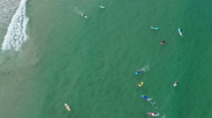 Aerial view of group of people surfing with stand up paddling, sup Stock Footage