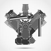 Motorcycle engine. Vector Stock Illustration