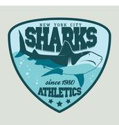 Shark sport emblem - stock illustration