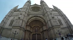 Fisheye view: Catholic Cathedral Santa Maria La Seu, in Palma de Mallorca, Spain Stock Footage