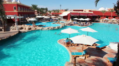 Places are in courtyard of the hotel - the main large pool. Egypt Stock Footage