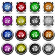 Money bags button set - stock illustration