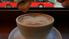 Checking Consistency of a Large Mug of Caffe Latte -  Ultra Macro Shot Stock Footage