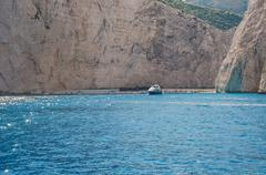 View of Navagio beach on Zakynthos island, Greece Stock Photos