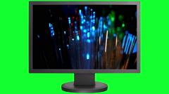 Fiber optics on monitor screen Stock Footage