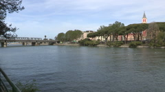 A panoramic view of the river Entella - stock footage