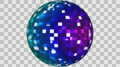 Firey Light Hi-Tech Squares Spinning Globe, Blue, Alpha Channel, Loopable, HD Stock Footage