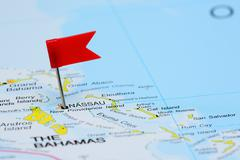 Nassau pinned on a map of America - stock photo