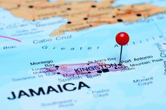 Port Antonio pinned on a map of America - stock photo